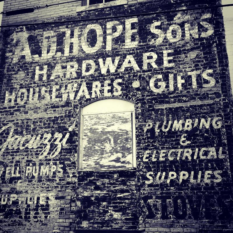 Old building advertisement stock photography