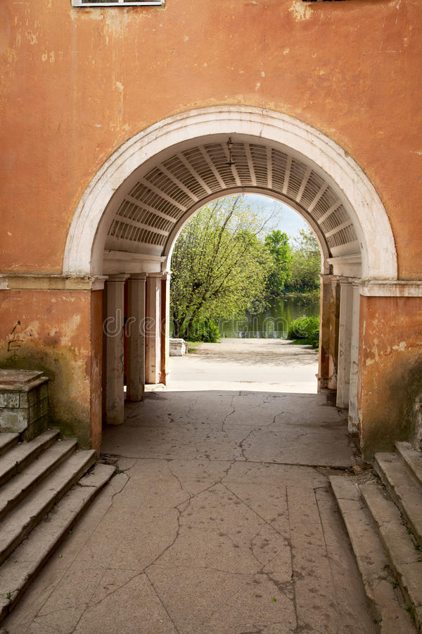 The old building with an arch stock photography