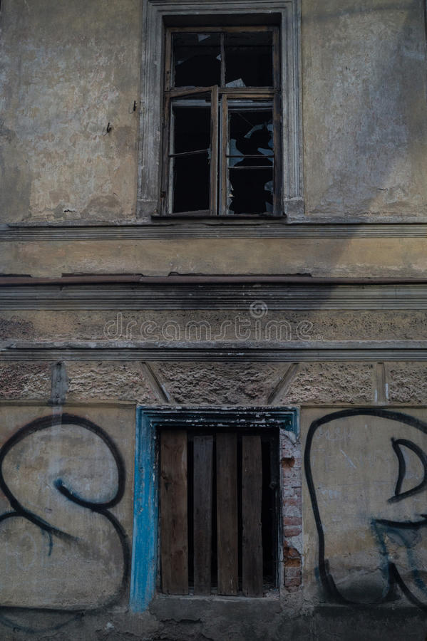 Old building with broken windows royalty free stock images
