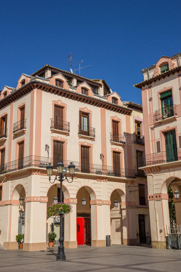 Old building at the central square in Huesca. Spain stock photography