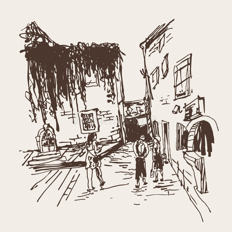 Old building with clambering plant and people walking in old tow. Sketching of old building with clambering plant and people walking in old town Budva Montenegro royalty free illustration