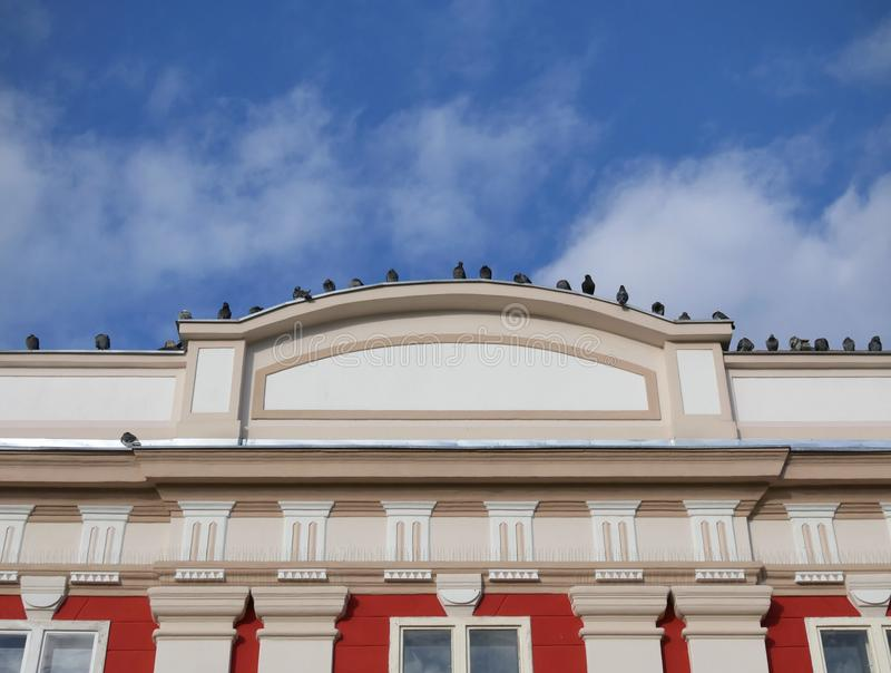 Old building facade detail in Timisoara Romania. Detail of renovated old building facade in Timisoara Romania Europe with pigeons at roof stock photo