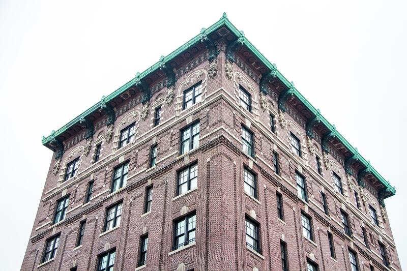 Old building facade. Cityscape in New York royalty free stock images