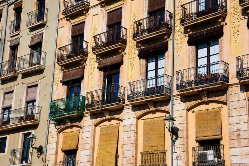 Old building facades and balconies. Tarragona, Spain stock images