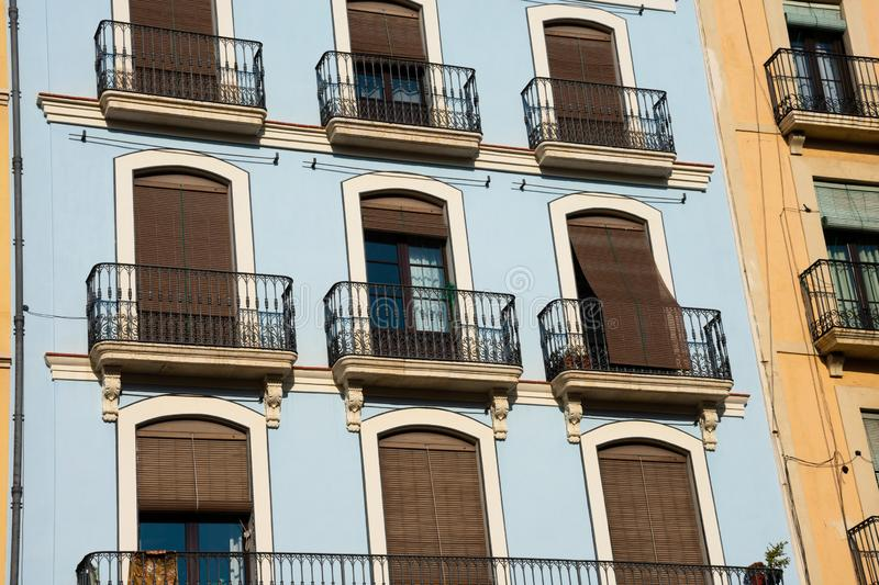 Old building facades and balconies. Tarragona, Spain royalty free stock images