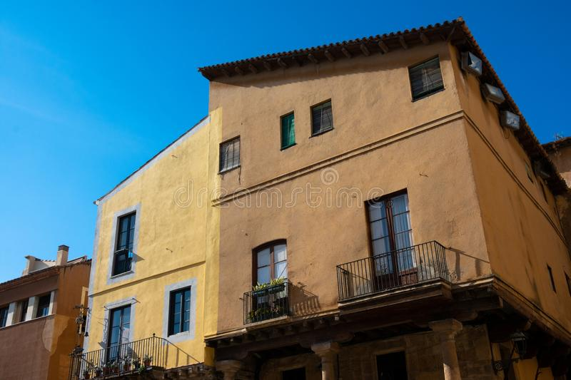 Old building facades and balconies. Tarragona, Spain royalty free stock photo
