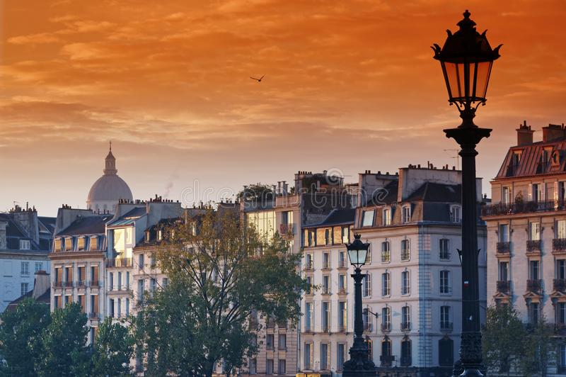 Old building facades in Paris. Old building facades and Pantheon dome in Paris city royalty free stock photography