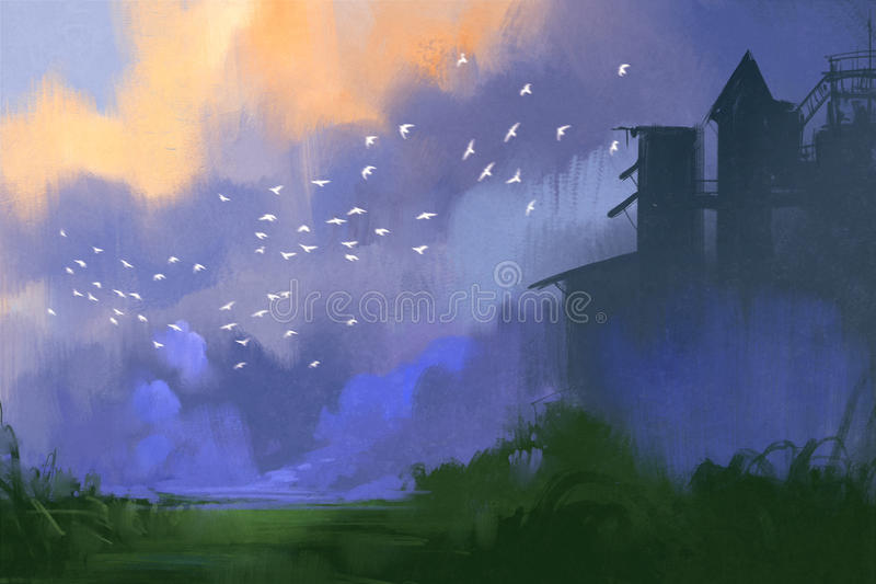 Old building in a field,landscape painting stock illustration
