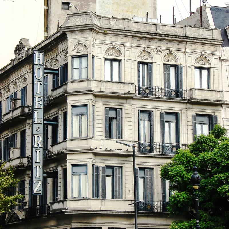 Old building of the hotel Ritz with sign on the perimeter of the building in the old quarter of Buenos Aires, Argentina royalty free stock photography