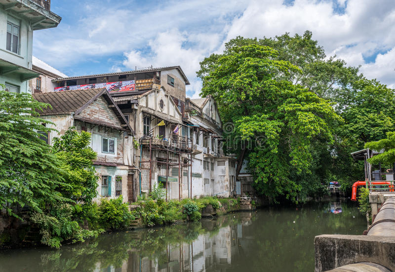 Old building in inner city of Bangkok, Thailand stock photos