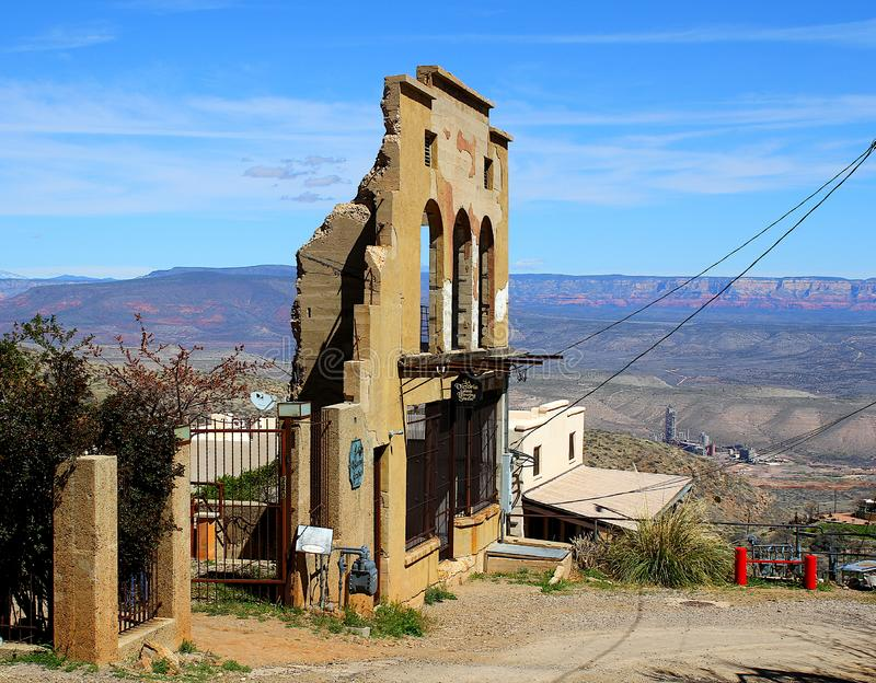 Old building in Jerome Arizona historical mining town. This is an old building located in Jerome, Arizona.  Jerome is a copper mining town that caters to royalty free stock photos
