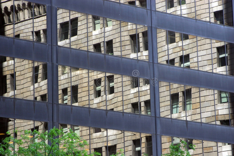 Download Old Building Reflected In Windows Of Modern Office Stock Photo - Image: 329984