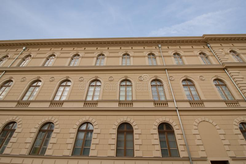 Old building in Szeged, Hungary. Renovated facade of a historic old building in Szeged, in the south of Hungary, Europe stock photo