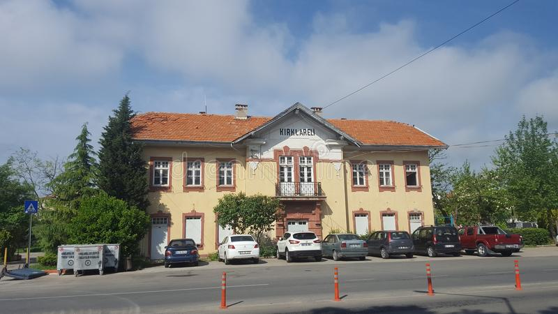 Old Building of Train Station. Old building of train statin in Kırklareli Turkey, with cars stock photo