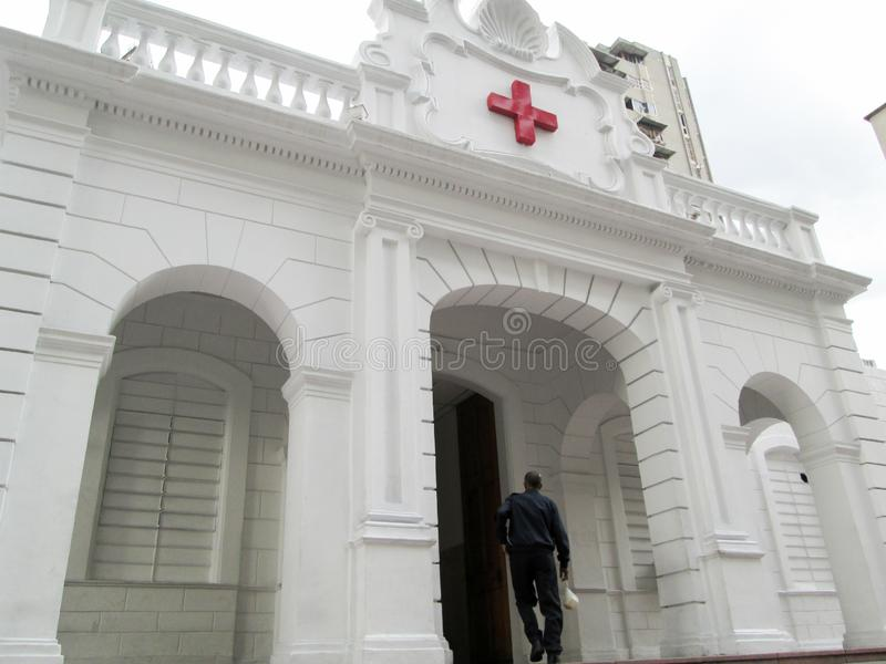 Old building of the Venezuelan Red Cross located in downtown of the city of Caracas.  royalty free stock photography