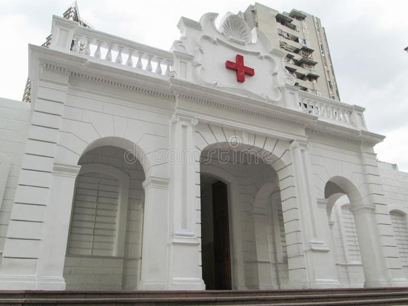 Old building of the Venezuelan Red Cross located in downtown of the city of Caracas.  stock photos