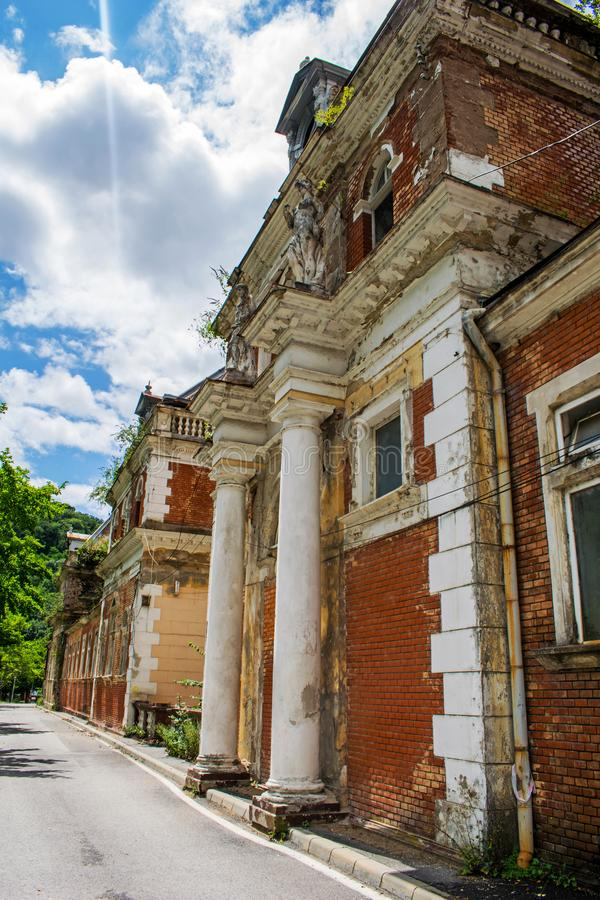 An old building where thermal water treatments were used in the past. Currently this building is a ruin. Here came to the royalty free stock photography