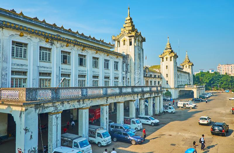 The old building of Yangon railway station, Myanmar royalty free stock images