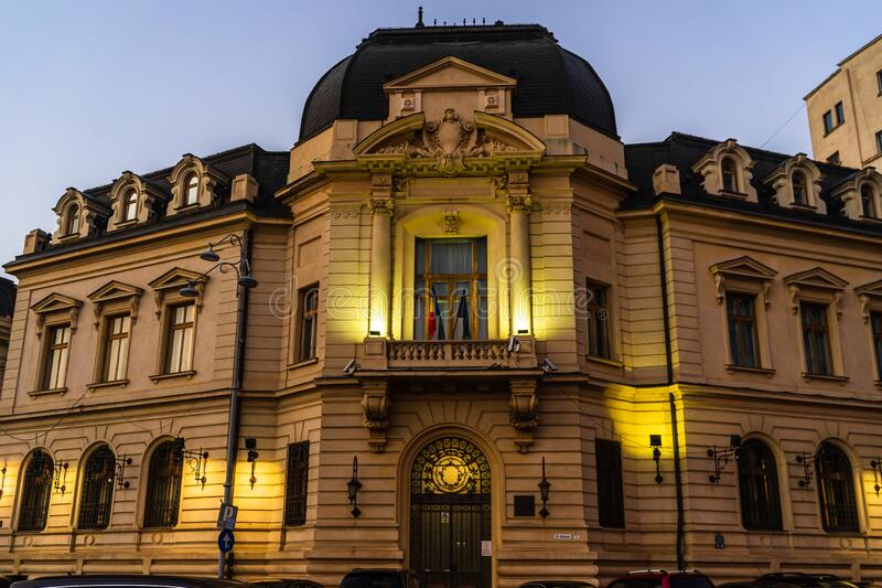 Old buildings architecture in downtown Bucharest, Romania, 2020.  stock photo