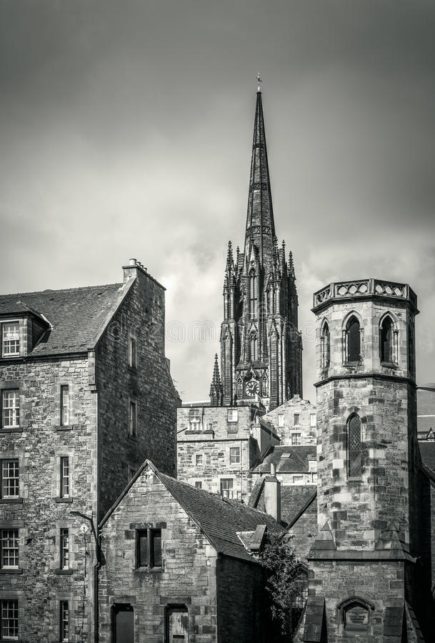 Old buildings in Edinburgh. Black and white image of old buildings in Edinburgh`s old town royalty free stock image