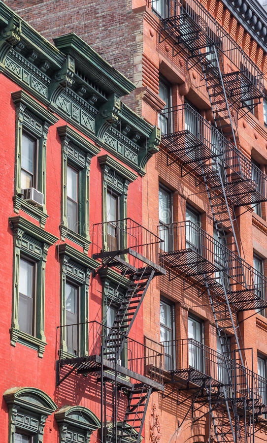 Old buildings with fire stairs in New York. City, USA royalty free stock photos