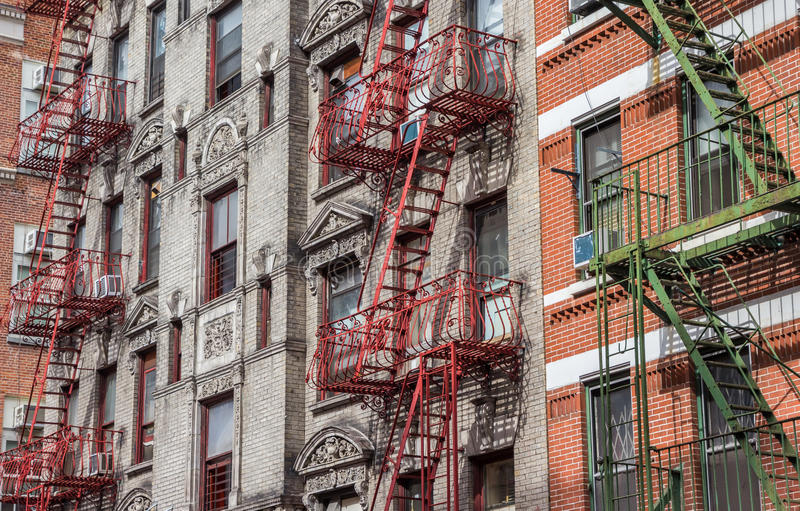 Old buildings with fire stairs in New York. City, USA royalty free stock photography