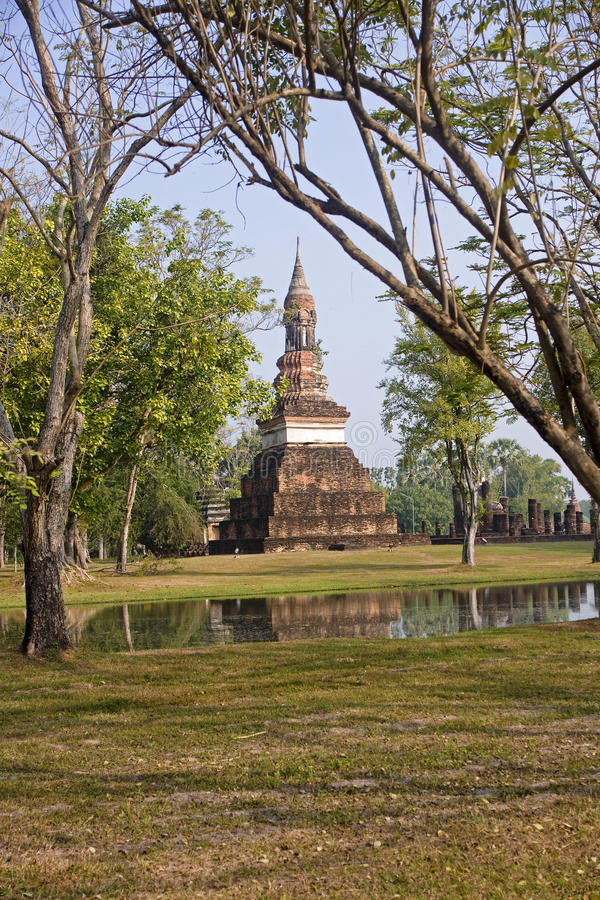 Old buildings in the Historical Park in Sukhothai stock image