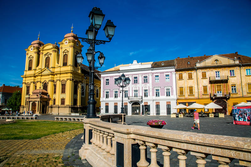 Old buildings located in a city in Romania, Timisoara, the city of youth. The originality of old cities in the center of Timisoara, something beautiful and royalty free stock images