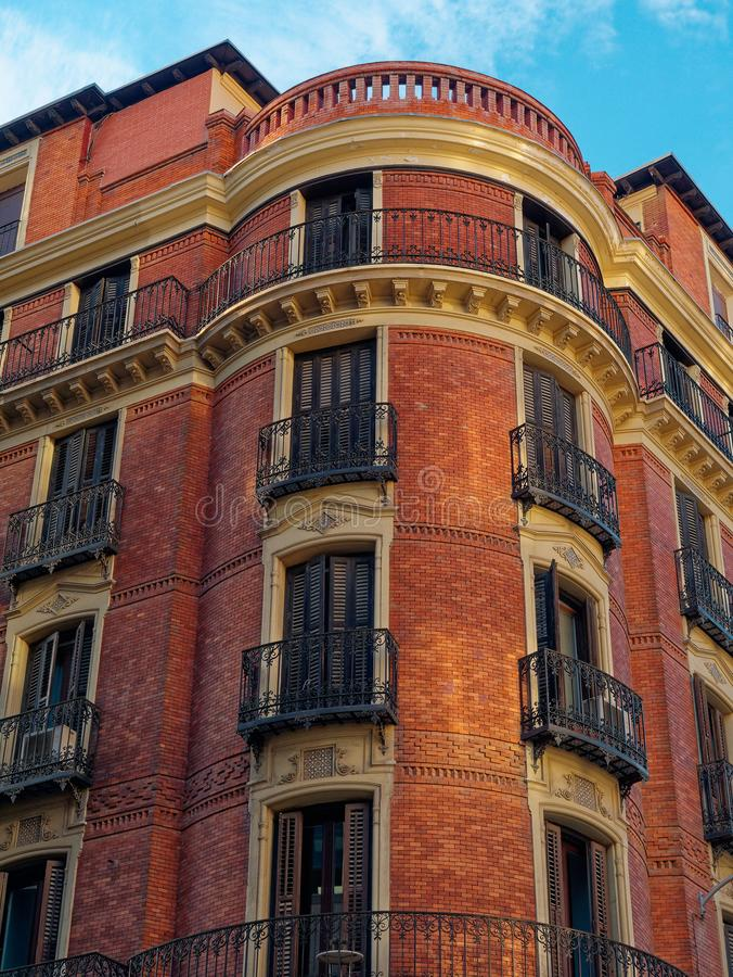 Old buildings in Madrid Spain.  stock photo