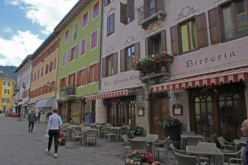 Old fiera. Old buildings in the main street of fiera di primiero in italy stock photo