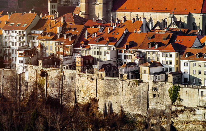 Old buildings of medieval city Fribourg, Switzerland, aerial vie royalty free stock photography
