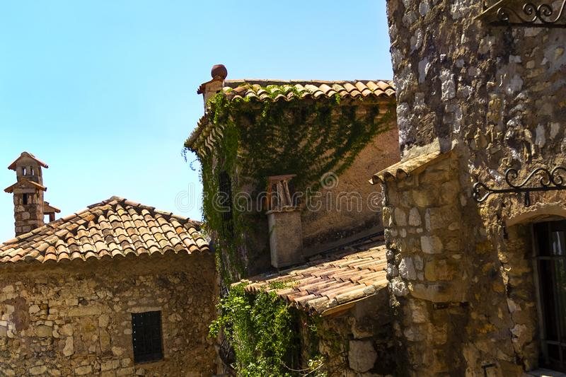 Old buildings in medieval Eze village at french Riviera coast Provence, France. Old buildings in medieval Eze village at french Riviera coast near Monaco and stock image