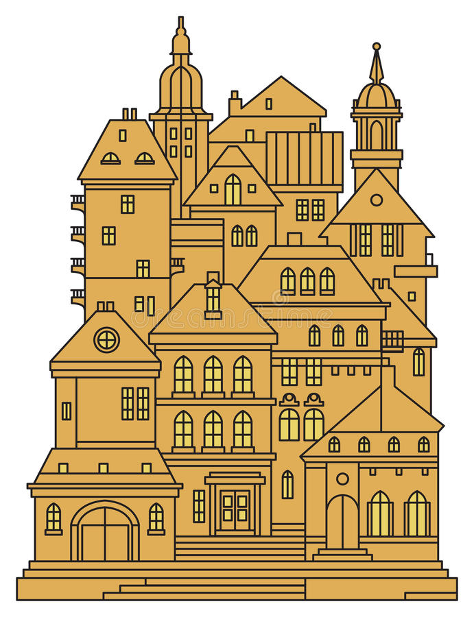 Old buildings in old city. Cityscape - houses, buildings. Old city view. Medieval european castle landscape, vector illustration royalty free illustration