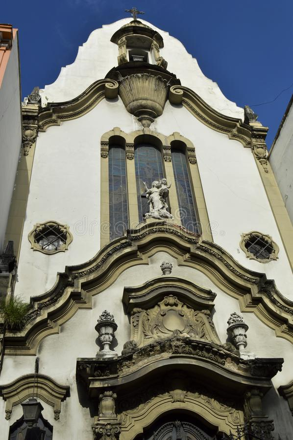 Old buildings in Rua da carioca in Rio de Janeiro. Old church in the center of Rio de Janeiro, at Passos Street at Passos Street brazil downtown carioca building stock photos