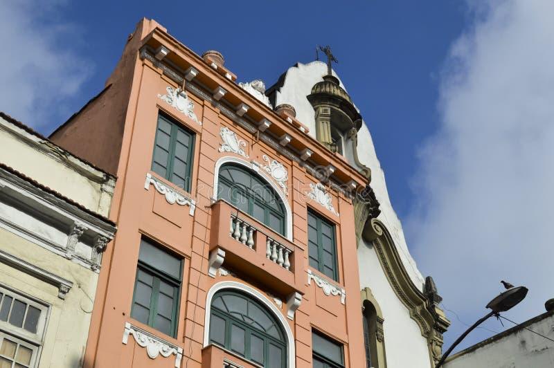 Old buildings in Rua da carioca in Rio de Janeiro. Old preserved buildings in the center of Rio de Janeiro, at Passos Street brazil downtown carioca city da stock photography