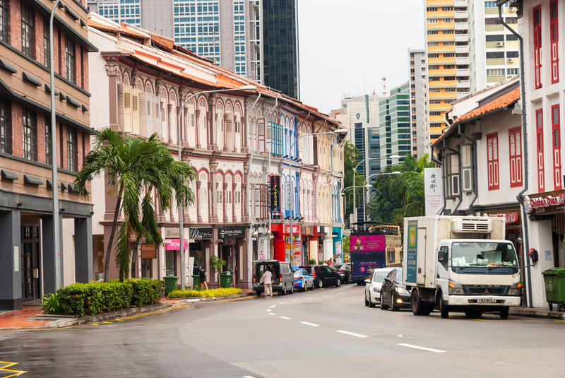 Old buildings of Singapore city stock photography