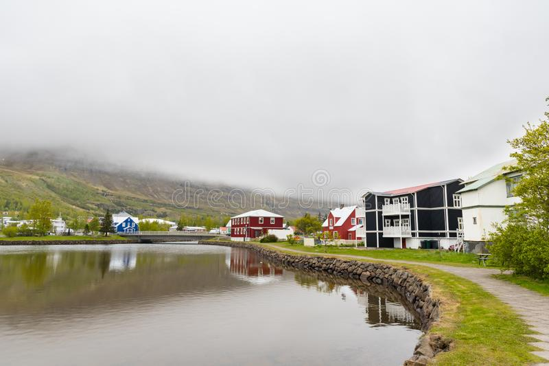 Old buildings in town of Seydisfjordur in east Iceland royalty free stock photography