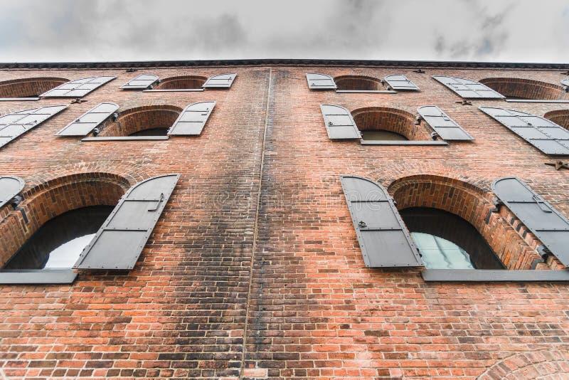 Old buildings under the Brooklyn bridge in Dumbo, in New York. Old buildings under the Brooklyn bridge in Dumbo, in New York, USA stock photography