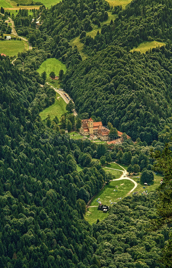 Old buildings in the valley. Old buildings in the forest valley. Pieniny, Slovakia stock photo