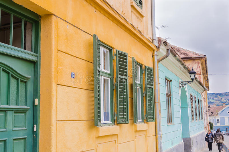 Old buillding, Medias, Romania. Old buillding with green windows, Medias, Romania royalty free stock photos