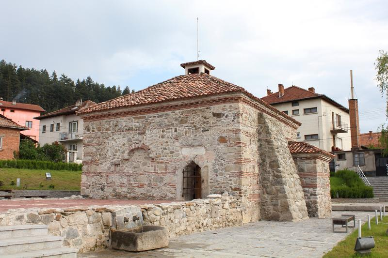 The Old Bulgarian bath in village of Bania Banya near town of Razlog. Bania Banya is the Bulgarian word for bath. There are many hot mineral springs in the stock images
