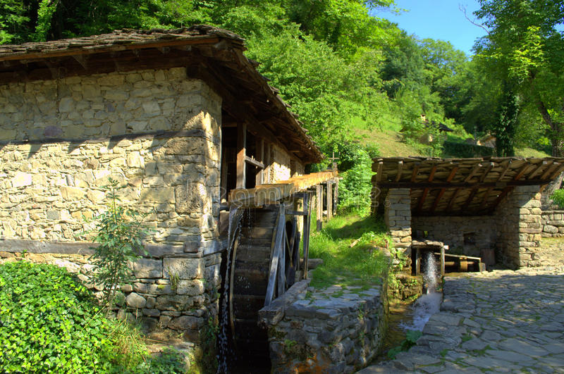 Old Bulgarian watter mills-Etar. Old stone houses water mills in Etar.The Architectural And Ethnographic Complex Etar is an open air museum aims to present the royalty free stock images