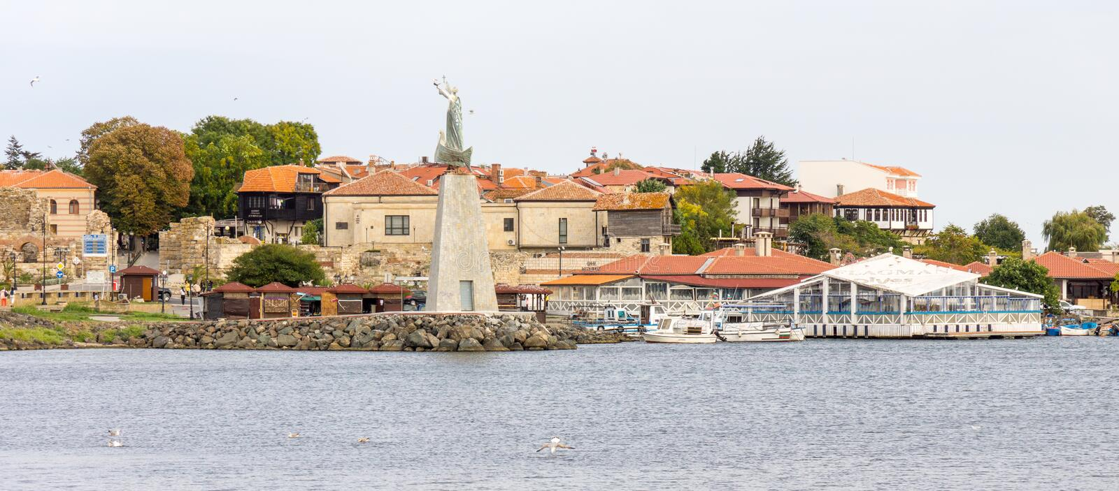 Old Bulgarian Nessebar from the sea stock photography