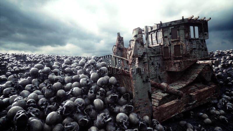 Old bulldozer and pile of skulls. Apocalypse and hell concept. 3d rendering. Old bulldozer and pile of skulls. Apocalypse and hell concept. 3d rendering royalty free illustration