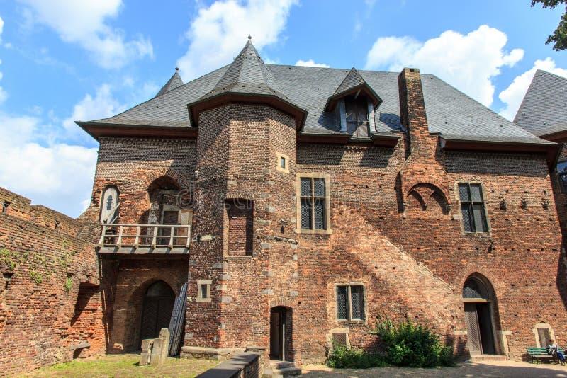 Old Burg Linn castle - museum in Germany, Nordrhei. Feudal castle - museum Burg Linn in Krefeld, near Düsseldorf, Nordrhein-Westfalen royalty free stock photos