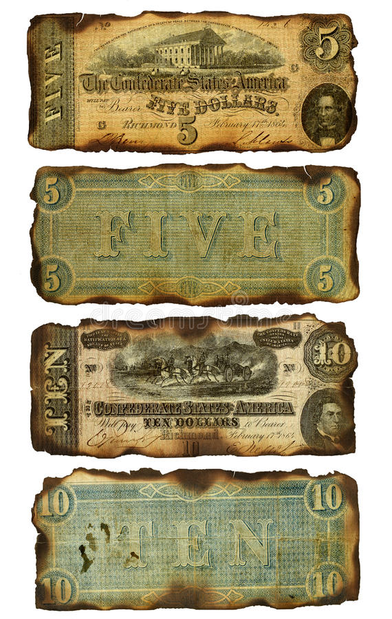 Free Old, Burned Confederate Five And Ten Dollar Bills Royalty Free Stock Photos - 41134068