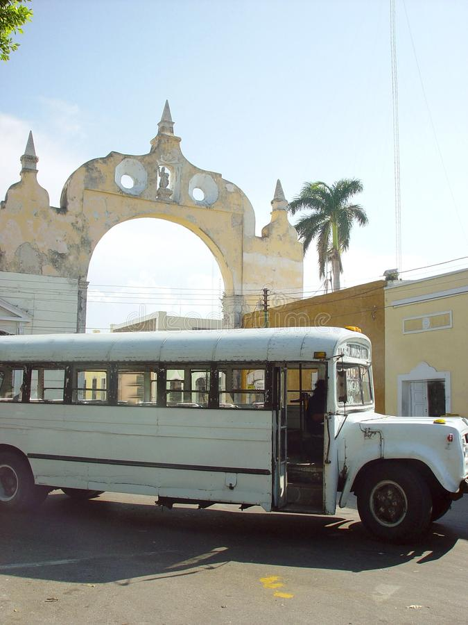 Old bus front arch in merida city in Mexico stock images