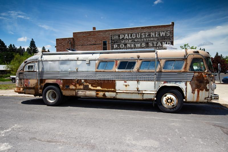 Old bus on the street. Old bus sitting on the street in summer , Palouse Washington royalty free stock photo
