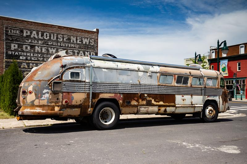 Old bus on the street. Old bus sitting on the street in summer , Palouse Washington royalty free stock photos