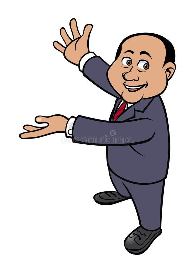 Old businessman. Cartoon vector illustration of a old businessman presenting stock illustration